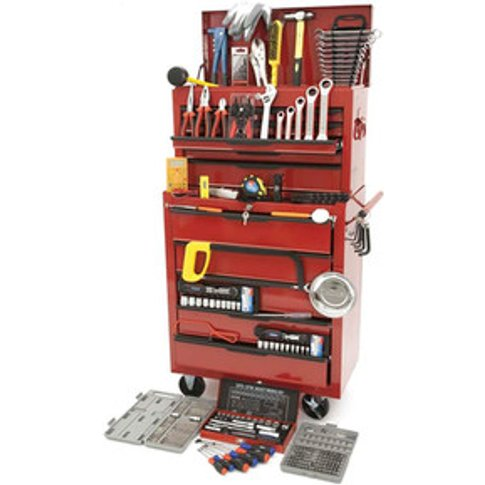 Hilka Tool Kit Heavy Duty Tool Chest Cabinet - Red