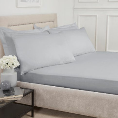 180 Thread Count Cotton Fitted Sheet - Silver / Supe...