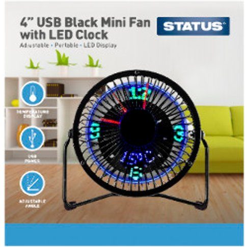 "4"" Usb Mini Fan With Led Clock"