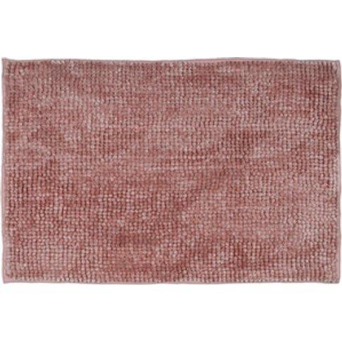 Luxury Chenille Bath Mat - Petal Pink