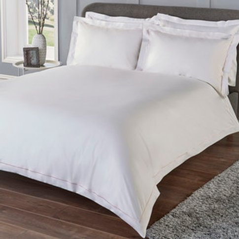 Oxford Stitch Trim Duvet Set - Blush / King