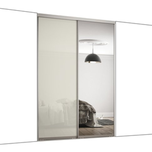 Spacepro Frame With Glass & Mirror 914mm Contour Sliding Door Kit - Arctic White Glass / 2