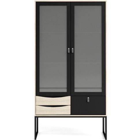 Savannah China Cabinet Two Frame Doors + Three Drawers - Matt Black Oak