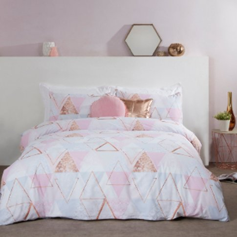 Abstract Bunting Metallic Print Duvet Cover And Pill...