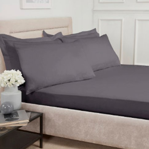 Polycotton Fitted Sheet - Charcoal / King