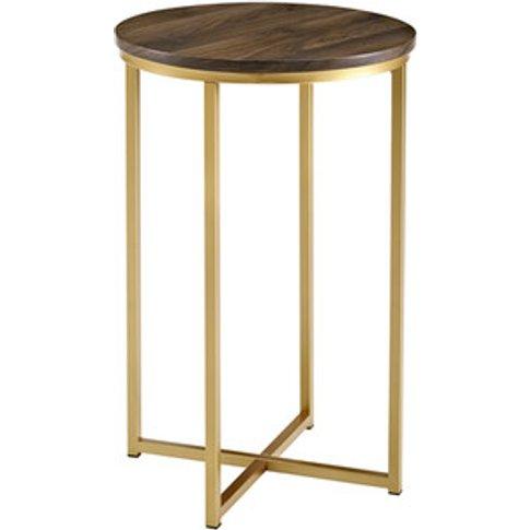 Rosa Round Side Table - Dark Walnut & Gold
