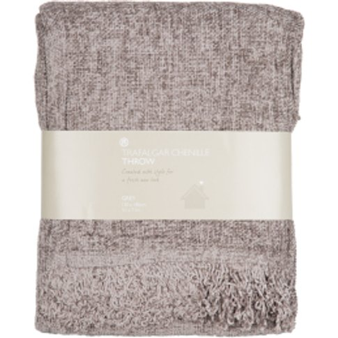 Trafalgar Chenille Throw Grey - Grey