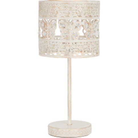 Antique White Crystal Butterfly Table Lamp - White