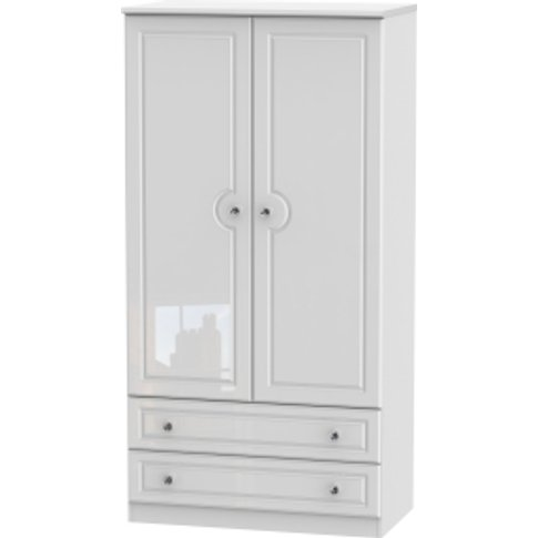 Balmoral Two Drawer Wardrobe With Crystal Effect Han...