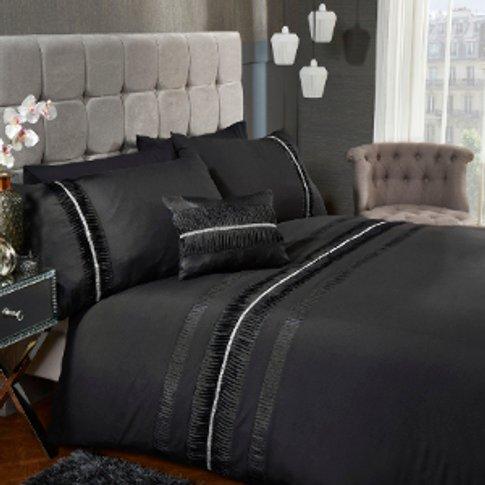 Glimmer Pleat Black Duvet Cover And Pillowcase Set -...