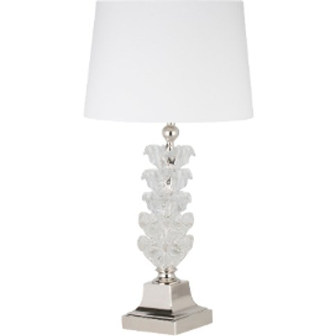Crystal Tiered Leaf Table Lamp - Clear