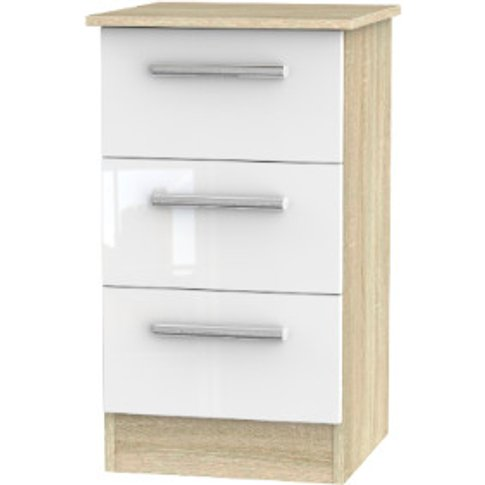 Carlton Three Drawer Bedside Table - White