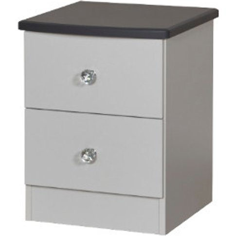Nancy Two Drawer Bedside Table - Grey
