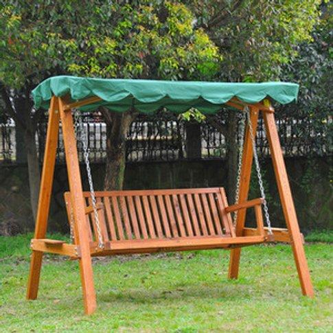 Swing Chair 3 Seater Swinging Wooden Hammock - Green