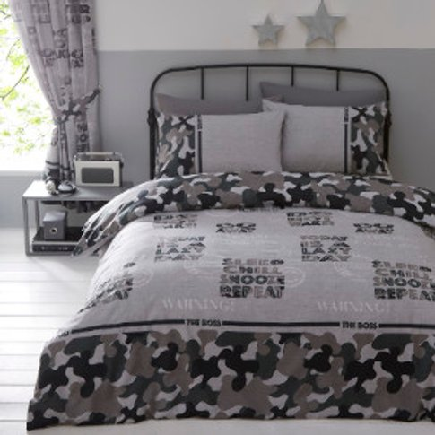 Camouflage Printed Duvet Cover And Pillowcase Set