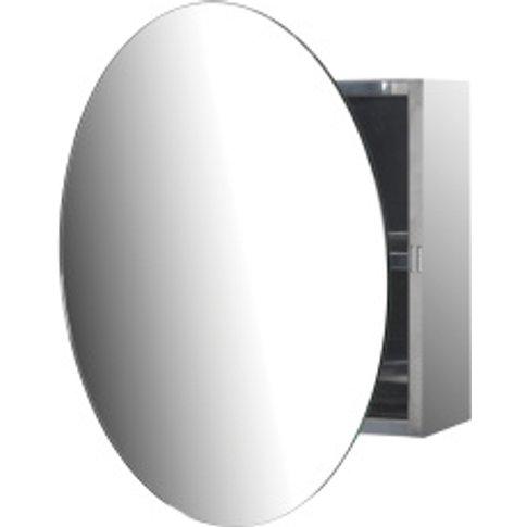 Round Mirror Cabinet - Silver