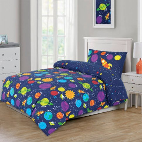 Sleep In Space Glow In The Dark Duvet Cover And Pill...
