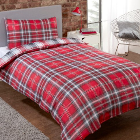Kirk Check Duvet Cover and Pillowcase Set - Red / Su...