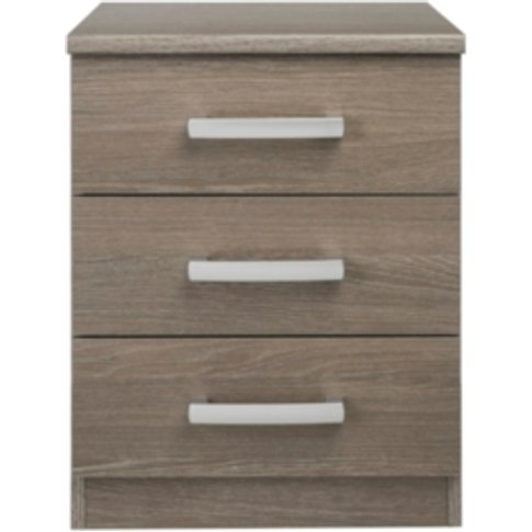 Riviera Three Drawer Bedside Table - Dark Oak