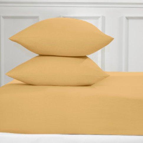 Flannelette Fitted Bed Sheet - Ochre / King