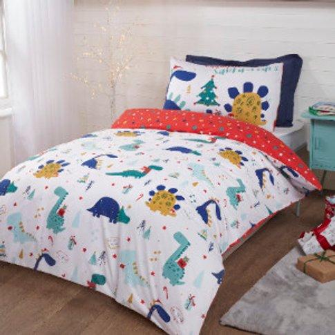 Waiting For Santa Roars Duvet Cover And Pillowcase Set