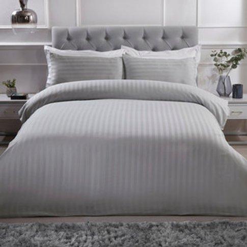 Luxury Satin Stripe Duvet Cover And Pillowcase Set -...
