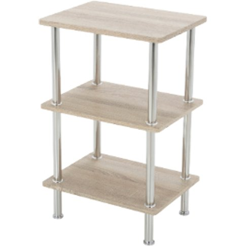 Three Tier Small Washed Oak Shelving Unit