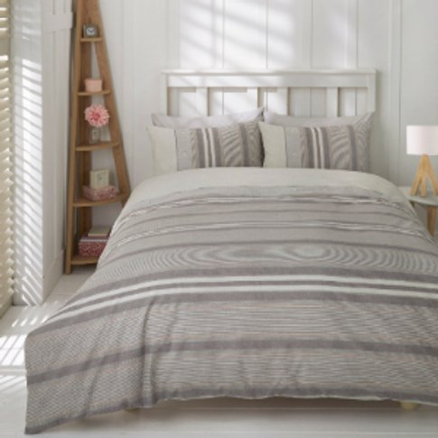 Marlow Stripe Duvet Cover And Pillowcase Set - Silve...
