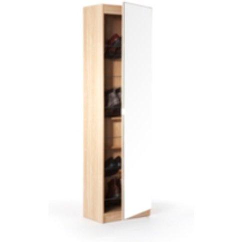 Mirrored Shoe Cabinet - Oak / 180cm