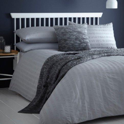 Seersucker Duvet Cover And Pillowcase Set - Grey / D...