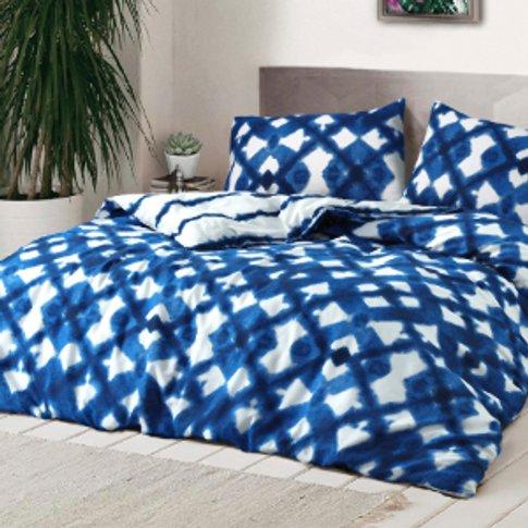 Tie Dye Blue Duvet Cover And Pillowcase Set - Double