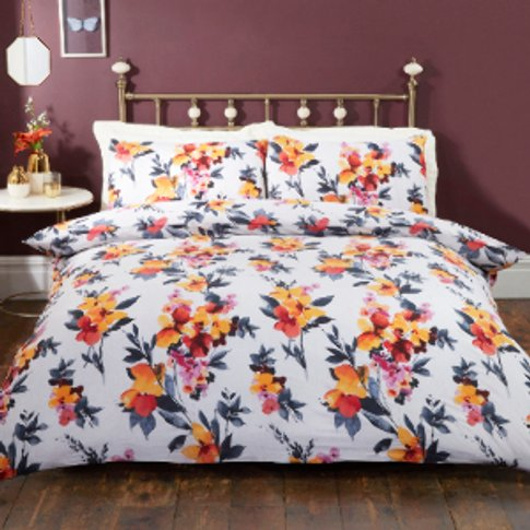 Anita Autumn Floral Printed Duvet Cover And Pillowca...