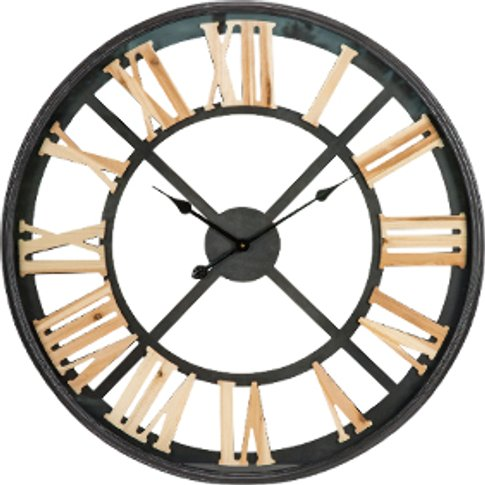 Glass Iron Wall Clock - Black