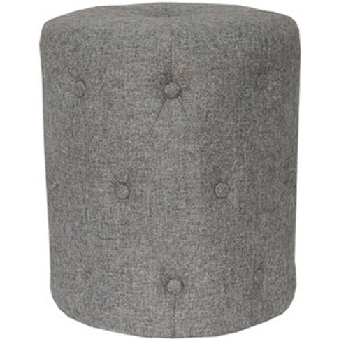 Upholstered Cushioned Stool - Dark Grey