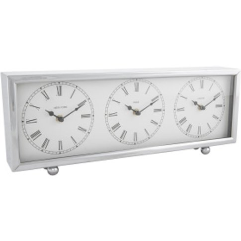 Time Zone Clock - Silver