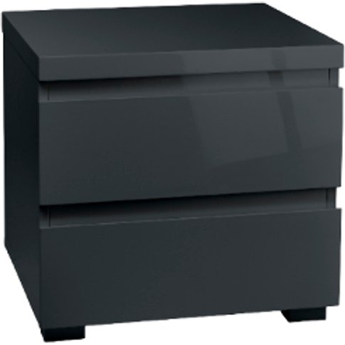 Puro 2 Drawer Bedside Table - Charcoal