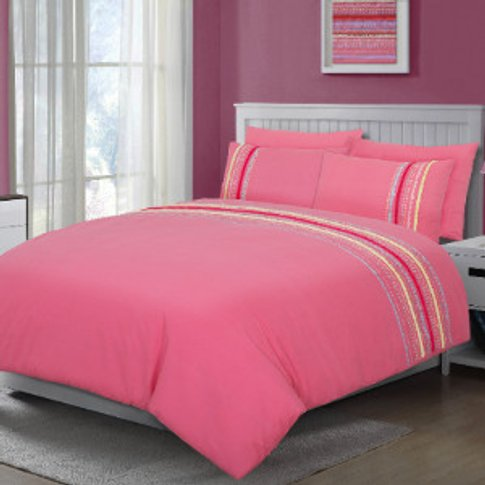 Polly Pompom Duvet Cover And Pillowcase Set - Pink /...