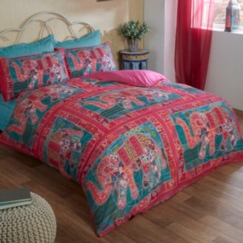 Embroidered Elephant Printed Duvet Cover And Pillowc...