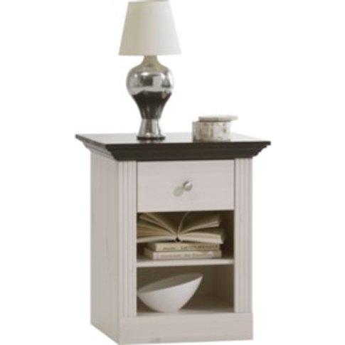 Monaco Bedside Table - White Washed / Black