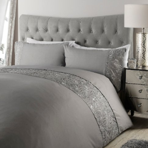 Metallic Leaf Grey Duvet Cover And Pillowcase Set - ...