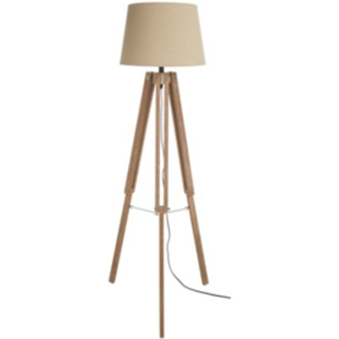 White Washed Wooden Tripod Floor Lamp - Natural