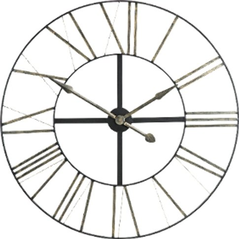 Black Iron Clock With Silver Numerals - Black