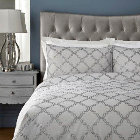 Arielle 200 Thread Count Duvet Cover And Pillowcase Set - Grey / King
