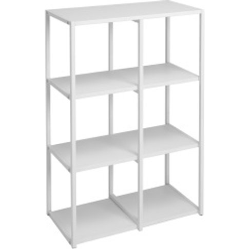 Metal Six Hole Shelving Unit - White