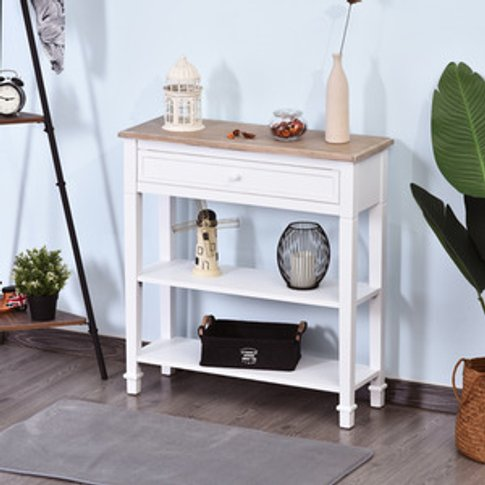 Console Table Hallway Side Desk - White And Oak