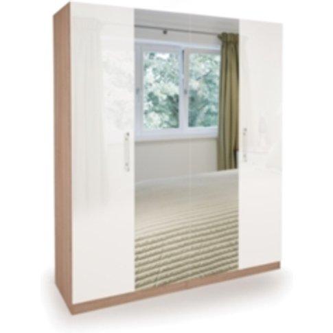 Ashburton Four Door Wardrobe With Mirror - Oak / Glo...