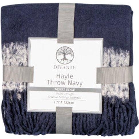 Hayle Stripe Navy Tassel Throw - Navy