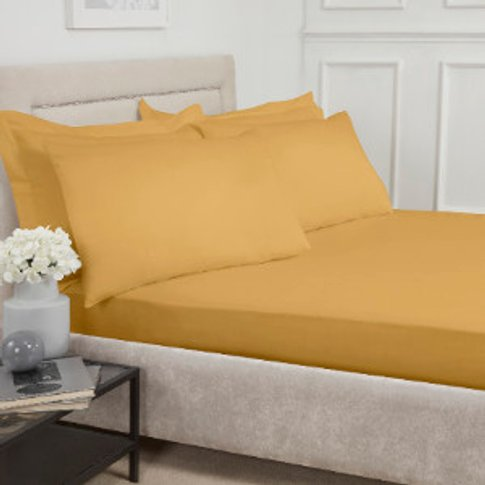 180 Thread Count Cotton Fitted Sheet - Ochre / Double