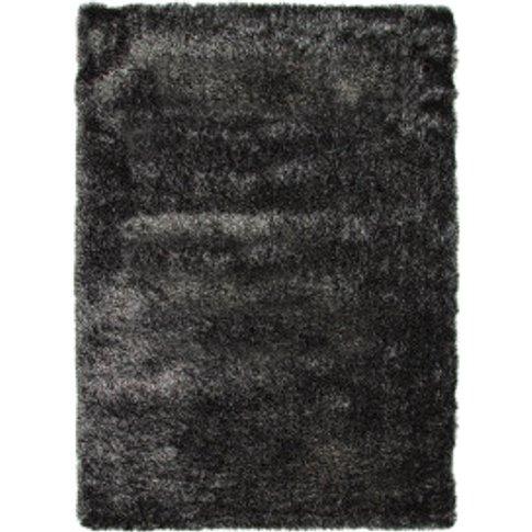 Multi Gloss Rug - Black / Silver / 200cm