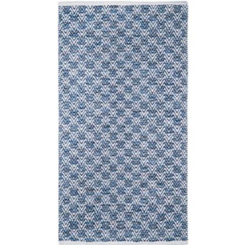 Arrow Weave Blue Rug - Blue
